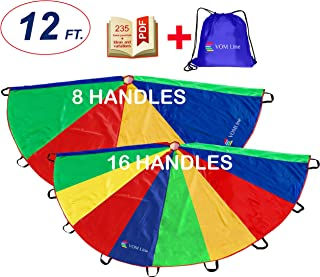 VOMLine Play Parachute 12 Ft with 8/16 Handles Proper Selection of Matching Colors On The Basis of Experimental Color Testing, with High-Grade Stitching