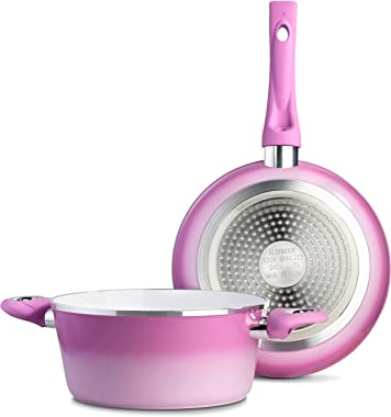 Chef's Star Ceramic Hard Anodized Aluminum Nonstick Cookware Pots and Pans Set, 9 piece (Pink)
