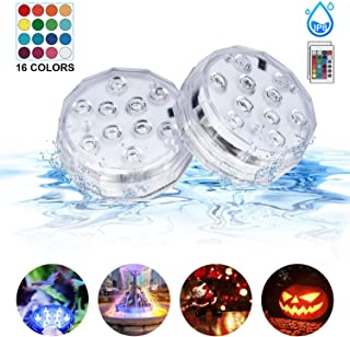 Submersible Led Lights with Remote IP68 Waterproof Underwater Led Pond Lights Multi-Color Battery Operated Fountain, Aquarium, Vase, Hot Tub, Fish Tank, Holiday Party Decorations Lights (2Pack)