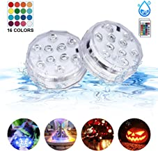 Sunvook Submersible Led Lights with Remote Control IP68 Waterproof Underwater Led Lights Multi-Color Battery Operated Fountain, Aquarium, Vase, Hot Tub, Bathtub, Fish Tank Holiday Party Lights (2Pack)