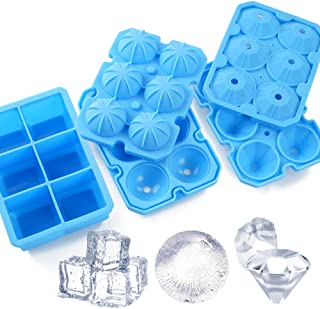 Ice Cube Trays, meidong 3 Pack Food-Grade Silicone Ice Cube Trays Round Big Ice Balls Square Diamond Ice Cube Trays, Reusa...