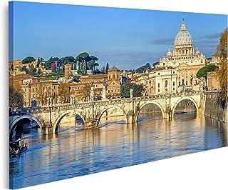 Cuadro en Lienzo Basílica de San Pedro en el Vaticano y el Puente Santangelo sobre el Tíber Roma Italia Cuadros Modernos Decoracion Impresión Salon