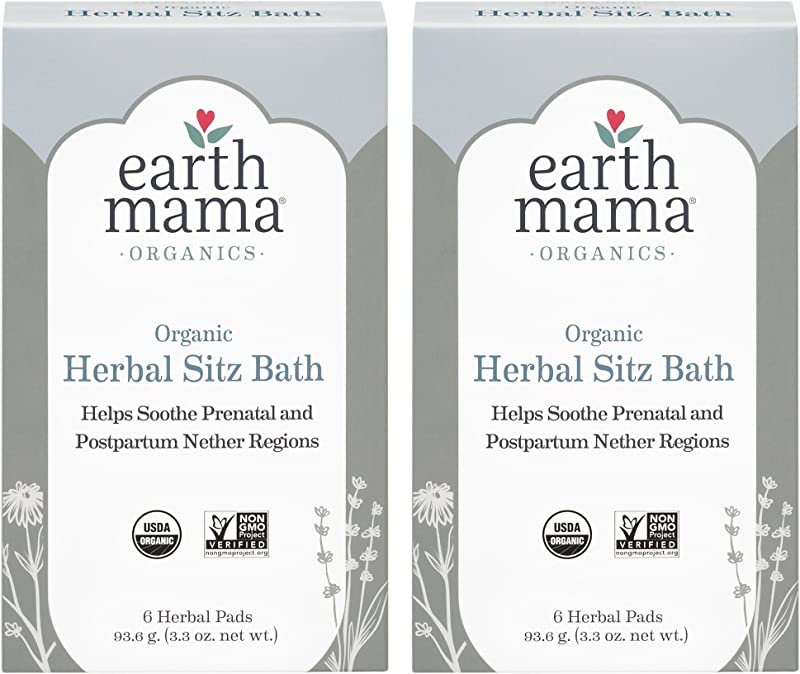 Organic Herbal Sitz Bath By Earth Mama Soothing Soak For Pregnancy And Postpartum Care 6 Count 2 Pack