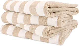 Arkwright California Cabana Striped Oversized Beach Towel Pack of 4, Ringspun Cotton Double Yarn Strength, Perfect Pool Towel, Beach Towel, Bath Towel (Extra Large 30 x 70 Inch, Beige)