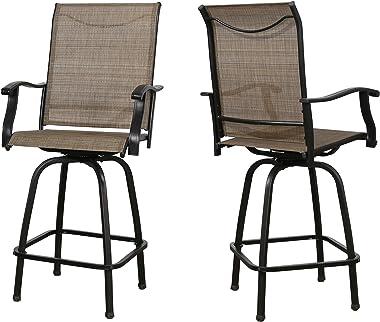 Iwicker Patio 2 PCS Swivel Height Bar Chairs with Textilene Mesh Fabric
