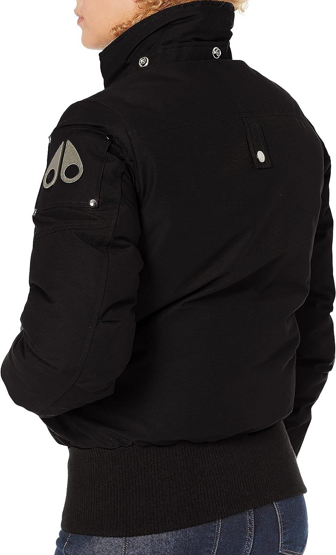 Moose Knuckles womens Debbie Bomber Down Jacket With Fur Pom Pom