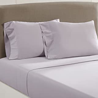 Amrapur Overseas Vintage Washed 100-Percent Cotton 4-Piece Sheet Set, Queen, Lilac