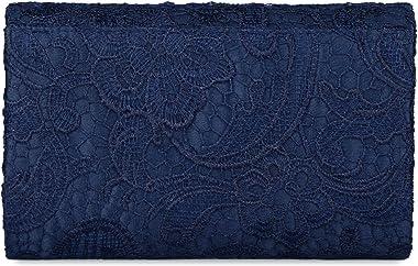 Baglamor Women's Elegant Floral Lace Envelope Clutch Evening Prom Handbag Purse (Blue)