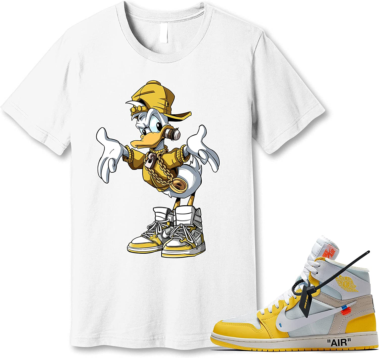 #Donald Lowest price challenge #Duck White Shirt to Match Canary Yellow Sneake Excellence Jordan 1
