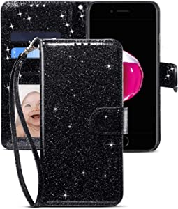 CHICASE Phone Case for iPhone 7/8 Plus-5.5''Folding Flip Glitter Bling Cute Leather Wallet Shockproof Protective Case with Kickstand Card Slots Wrist Strap for iPhone 7 Plus/iPhone 8 Plus (Black)