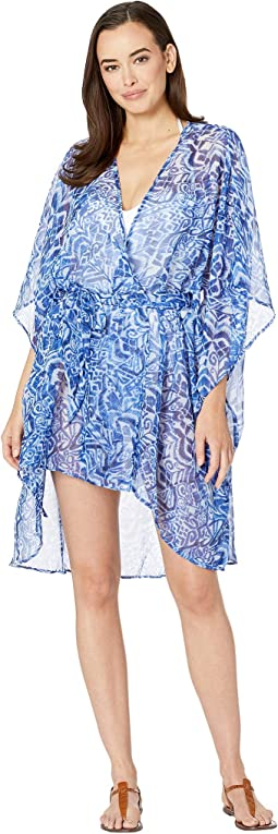 Bias Tribal Ikat Belted Wrap Cover-Up