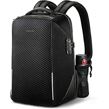 Anti-theft Travel Laptop Backpack, Fintie 15.6 Inch TSA-Friendly Water Resistant Daypack Rucksack with RFID Protection and USB Charging Port for Mens Business School Outdoor, Black