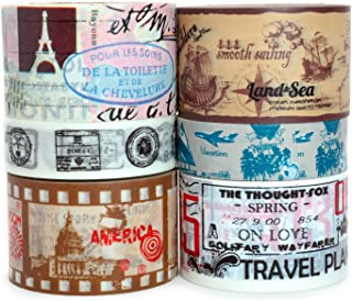 Crafty Rabbit Vintage Travel Washi Tape - Set of 6 Rolls - 196 Feet Total - Multicolor