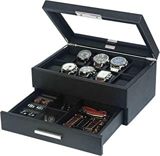 Lifomenz Co Leather Watch Box with Drawer Adjustable Tray for Men Watch Jewelry Box Organizer,Watch Display Case Catchall ...