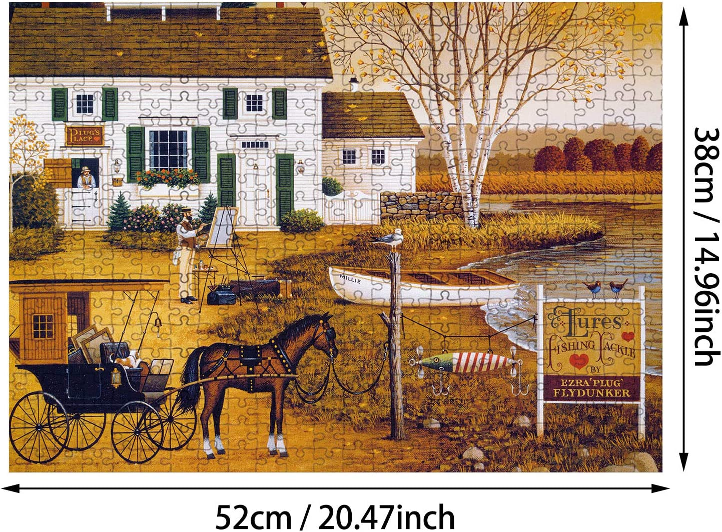 2 Sets 500 Pieces Jigsaw Puzzles Intellectual Landscape Puzzles Educational Jigsaws Beauty and Warm Gift Puzzles for Adults Teens and Family Seniors