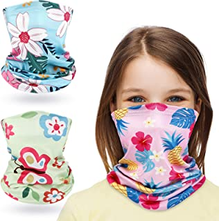 3 Pieces Kids Neck Gaiter Bandanas UV Protection Flower Face Bandana Scarf for Girls Outdoor Protection Sports