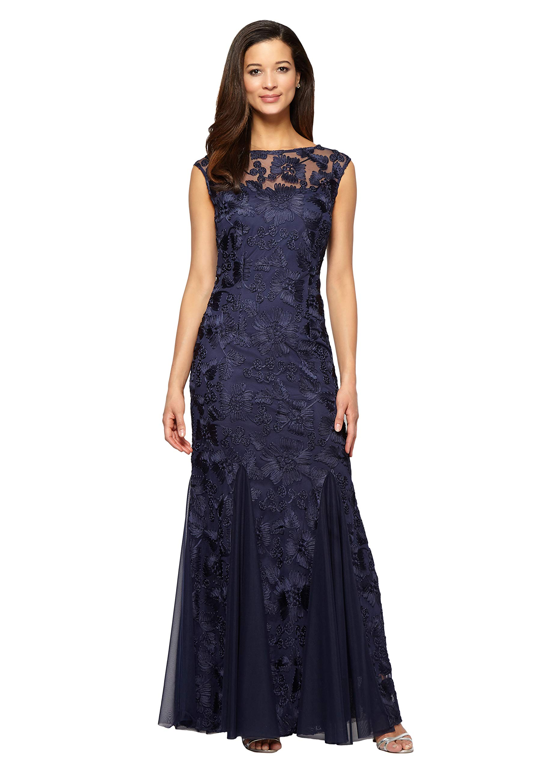 Mother Of The Bride Dresses - Women's Long Fit And Flare Dress Godet Detail