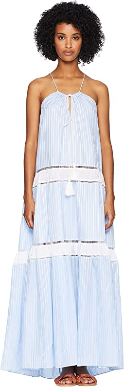 Striped Cotton Drawstring Tank Dress Cover-Up