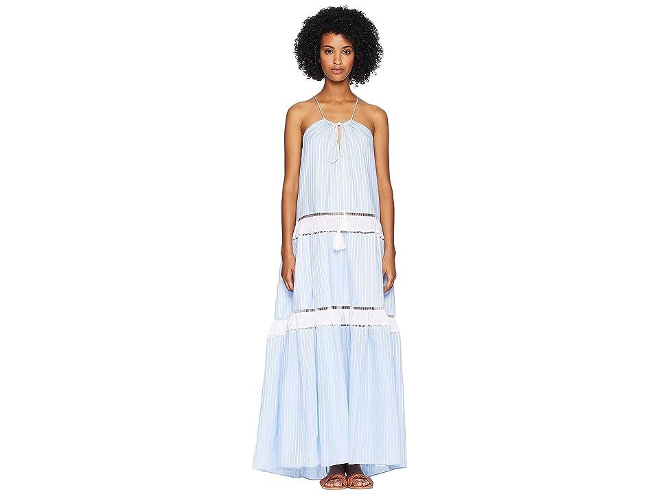 Jonathan Simkhai Striped Cotton Drawstring Tank Dress Cover-Up (Chambray Combo) Women