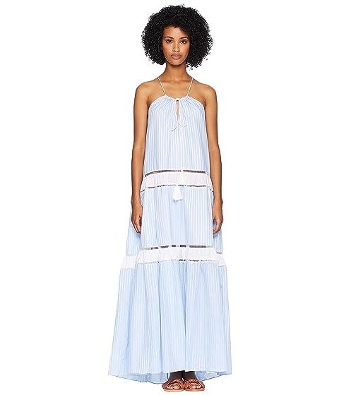 Jonathan Simkhai Striped Cotton Drawstring Tank Dress Cover-Up
