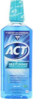 ACT Restoring Anticavity Fluoride Mouthwash Cool Mint 18 oz (Pack of 4)