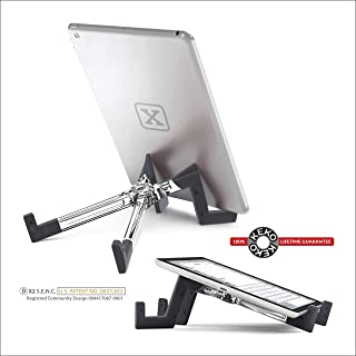 KEKO Tablet Stand, Universal Lightweight Foldable Multi-Position Tablet Holder for iPad/Android/Galaxy/Kindle/Smartphone/E-Readers, Compatible with Protective Case - Clear