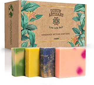 Womens Handmade Vegan Cold Process Bath Soap I All Natural 5 oz Hand/Body Bars I 4-Pack Variety Box Set I Luxurious Long L...