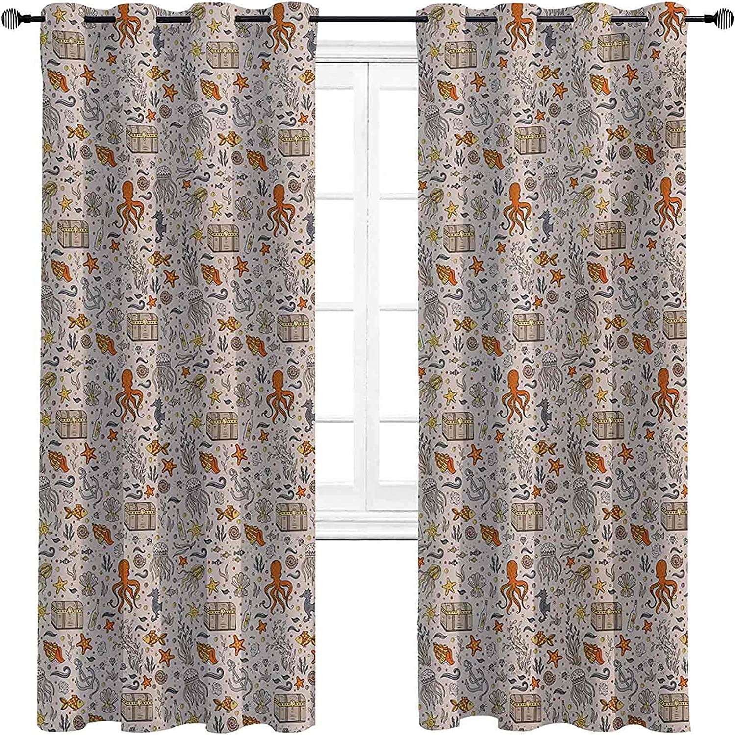 with Grommets blackoutOctopus Curtain Colorado Springs Mall Pa Max 52% OFF Themed Ocean Adventure
