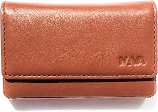 Nava Design Smooth - Rigid Leather Card Holder (Coral Inner)