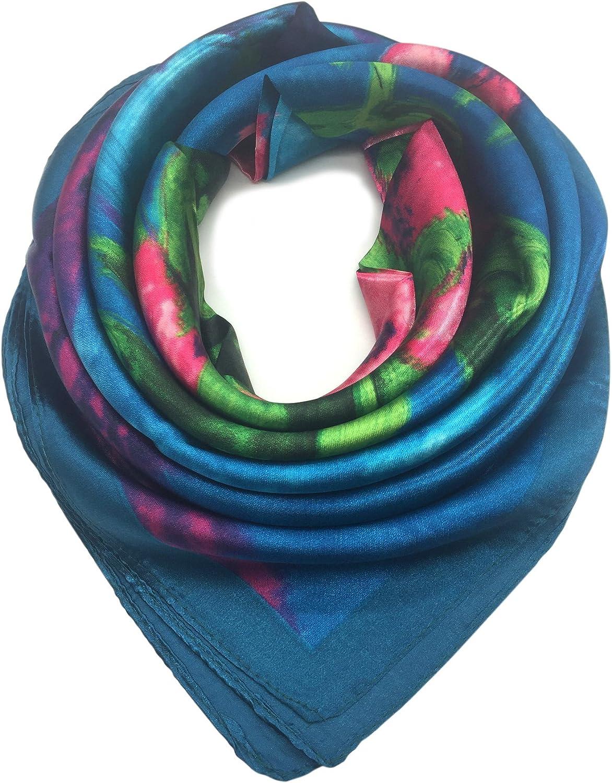 YOUR SMILE Silk Like Scarf Women's Fashion Pattern Large Square Satin Headscarf Headdress (12)