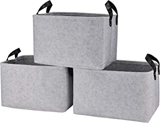 Collapsible Storage Basket Bins [3-Pack], Foldable Felt Fabric Storage Box Cubes Containers with Leather Handles- Large Organizer for Nursery Toys,Kids Room,Towels,Clothes, Grey (15.5