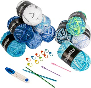 Lot de 10 pelotes de laine pour crochet - Multicolore - En acrylique - Avec 15 accessoires tressés pour tricot double et a...
