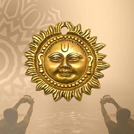 Happy Zone Surya Face Brass Wall Hanging Elegant Decor Item Door Decor | Sun Face Idol | Auspicious Vastu Item for Home | Office Decor (Size: 3.5 Inches