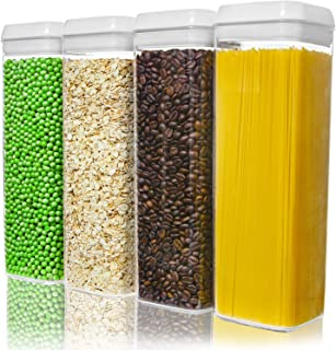 NUMYTON Airtight Food Storage Container with Easy Lock, Air-Tight Dry& Fresh Storage Set,BPA-Free Clear Durable Plastic (4...