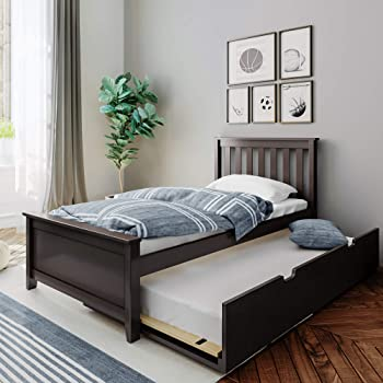 Amazon Com Max Lily Solid Wood Twin Size Bed With Trundle Bed Espresso Furniture Decor