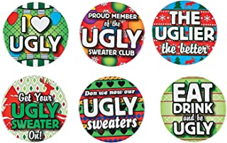 Fun Express - Ugly Sweater Buttons for Christmas - Jewelry - Pins - Novelty Buttons - Christmas - 24 Pieces