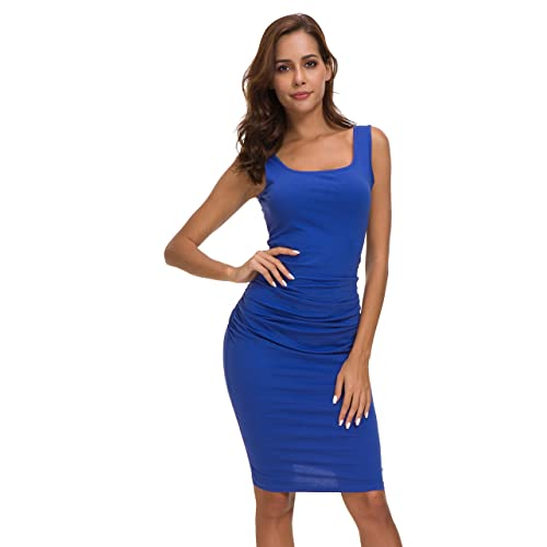 7d5bd67cb601 Missufe Women's Ruched Casual Knee Length Bodycon Sundress Basic Fitted  Dress