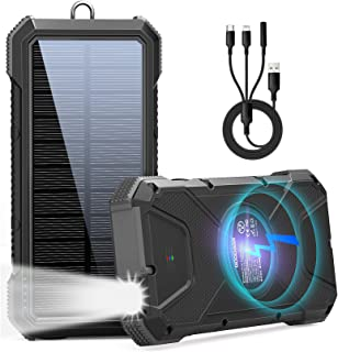 $49 » Sponsored Ad - Solar Power Bank 26800mAh,Solar Charger Fast Charging QI Wireless Charger External Battery Pack IPX6 Waterp...
