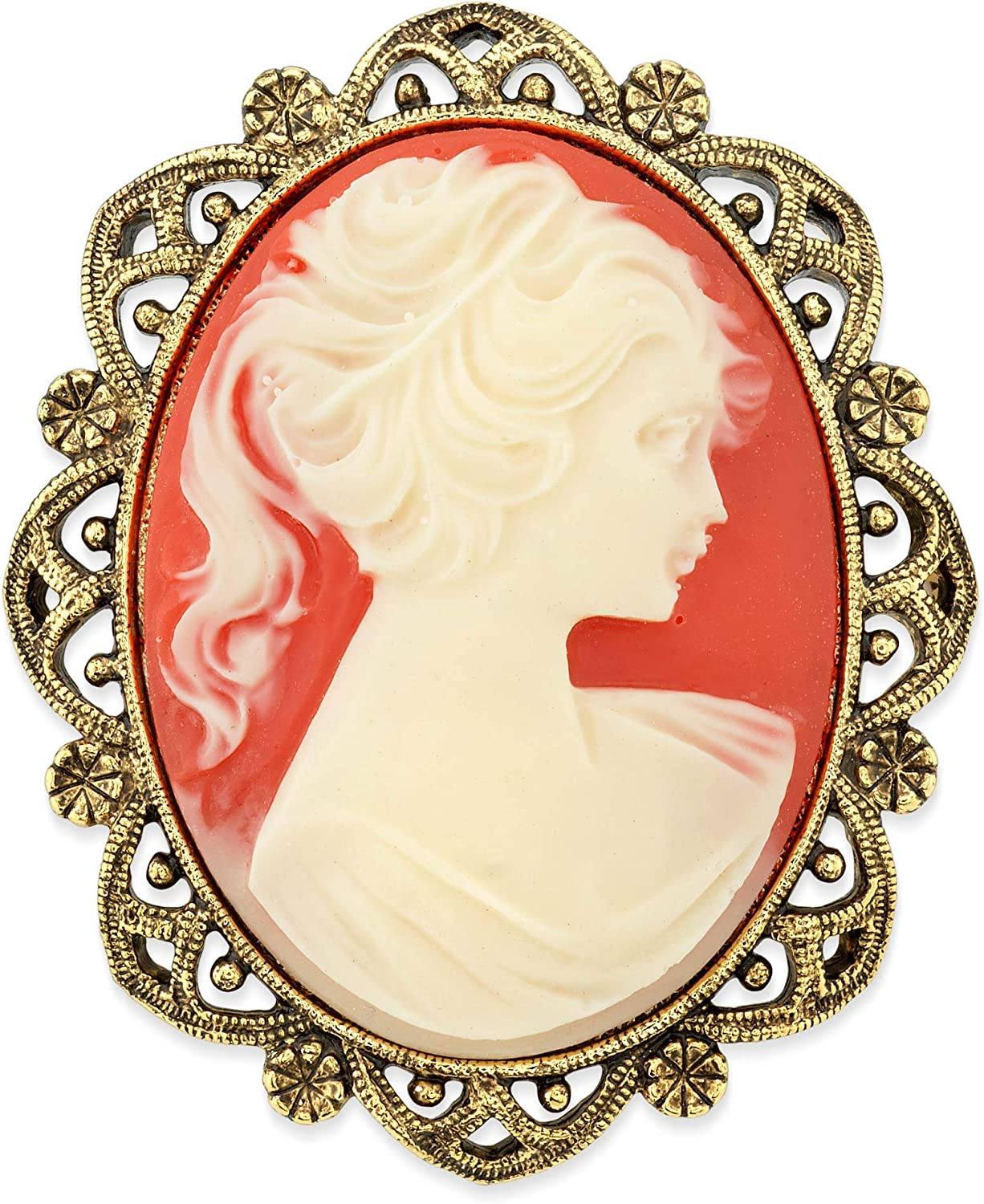 1928 Jewelry Vintage Inspired Costume Elizabeth Oval Cameo Brooch in Gold Tone with Carnelian Style Stone