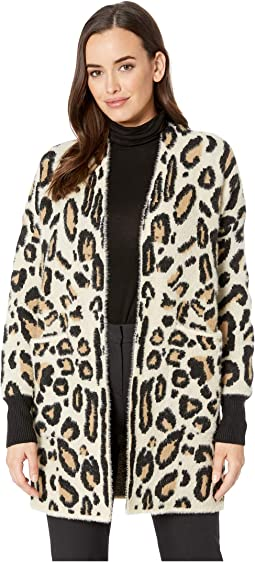 Long Sleeve Cheetah Eyelash Two-Pocket Cardigan