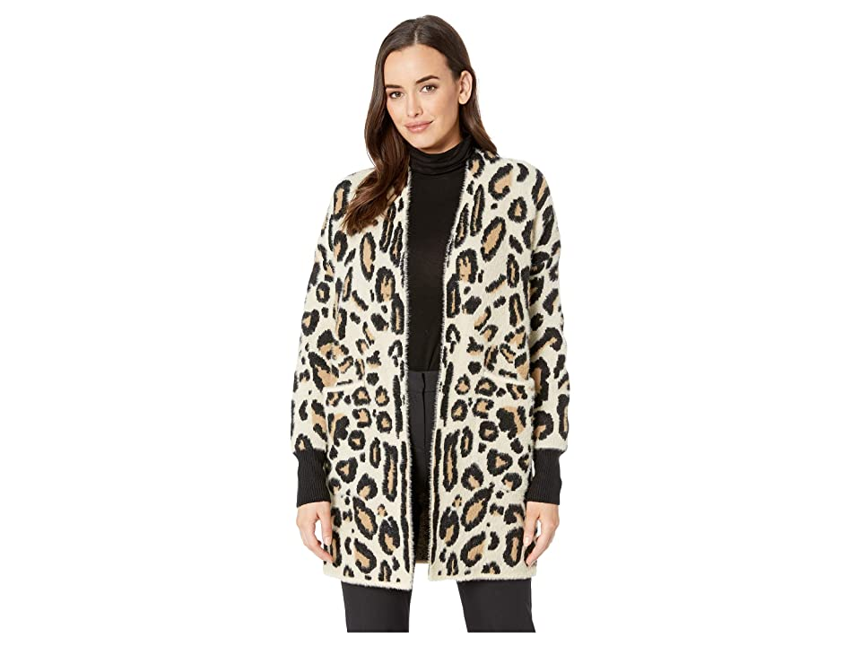 Vince Camuto Long Sleeve Cheetah Eyelash Two-Pocket Cardigan (Wood Ash) Women