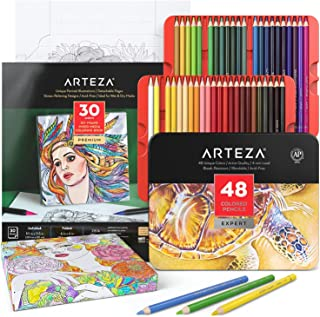 Arteza Adult Coloring Book Set with 48 Colored Pencils, Faces Coloring Book, 30 Foldable Coloring Sheets with DIY Framing,...