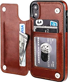 iPhone XR Wallet Case with Card Holder,OT ONETOP Premium PU Leather Kickstand Card Slots Case,Double Magnetic Clasp and Durable Shockproof Cover for iPhone XR 6.1 Inch(Brown)