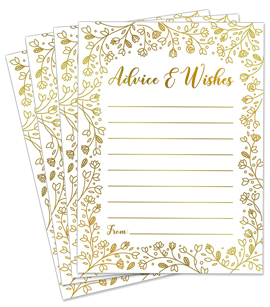 50x Wedding Advice Cards or Graduation Party Guest Book Alternative - Baby or Bridal Shower Card for Advice Games and Guestbook Alternatives for Bride and Groom in GOLD FOIL