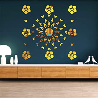 Best Decor Sun Flame 8 Flower with 20 Butterfly Golden Code 496 Acrylic Mirror 3D Wall Sticker Decoration for Kids Room/Li...