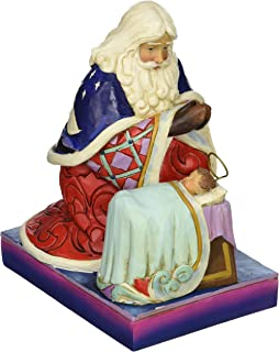 Jim Shore Heartwood Creek Santa with Angel and Baby Jesus Stone Resin Figurine, 6.6""