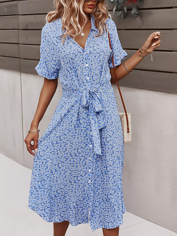 SHIBEVER Women's Floral Button Up Split Dresses V Neck Short Sleeve Casual Front Tie Summer Midi Dress