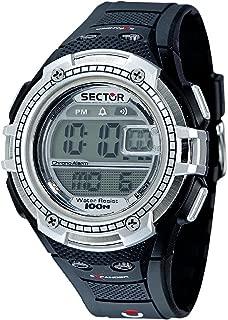 Men's Street Fashion Stainless Steel Analog-Quartz Sport Watch with Rubber Strap, Black, 18 (Model: R3251172115)