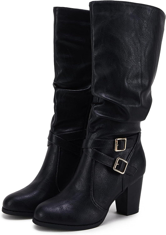Ermonn Womens Wide Mid Calf Boots Chunky Heels Metal Buckle Side Zipper Fashion Winter Shoes