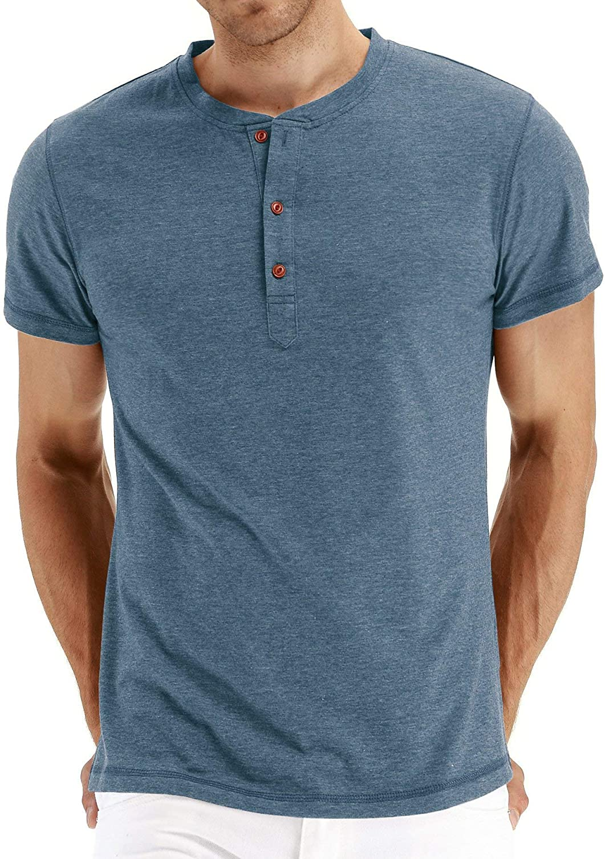 DUOFIER Colorado Springs Mall Men's Summer Henley Shirts Raglan Front Sl Short Placket Dallas Mall